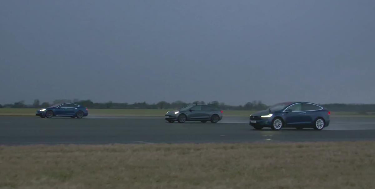Watch a Tesla Model 3, Model X, and Model S Drag Race