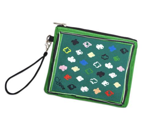 Green, Coin purse, Wristlet, Bag, Games, Fashion accessory, Handbag, Pencil case,