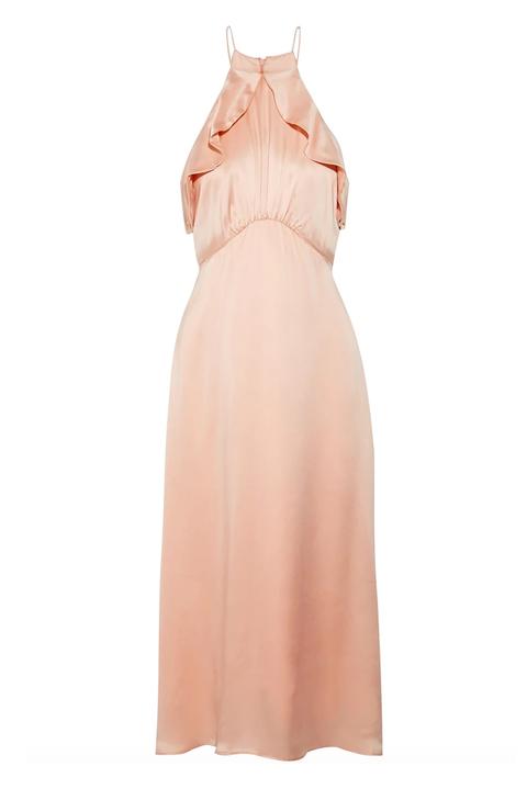 Dress, Clothing, Pink, Peach, Gown, Shoulder, Cocktail dress, Day dress, A-line, Strapless dress,