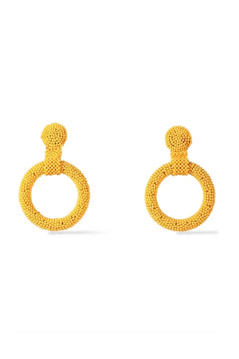 Earrings, Jewellery, Yellow, Fashion accessory, Body jewelry, Metal,