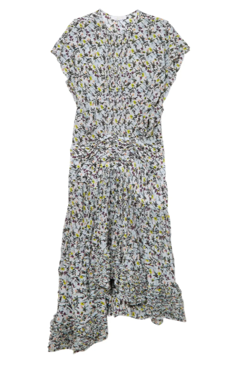 Chloe Ruffle-trimmed pleated floral-print georgette midi dress