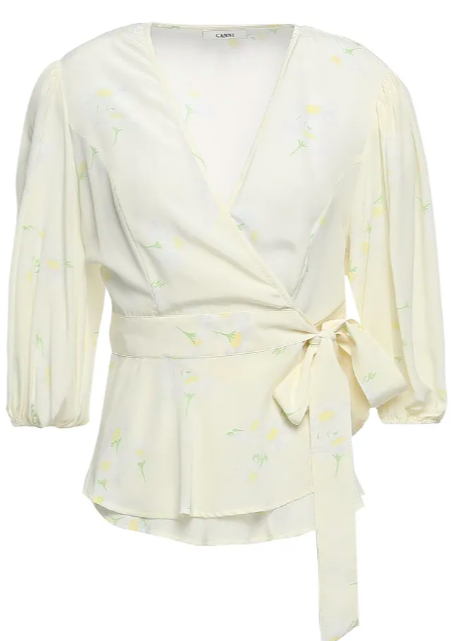 GANNINolana floral-print silk crepe de chine wrap top