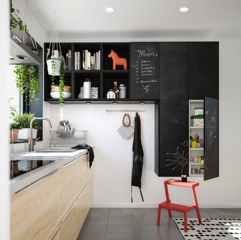 Room, Interior design, Furniture, Property, Kitchen, Countertop, Cabinetry, Black-and-white, Building, Wall,