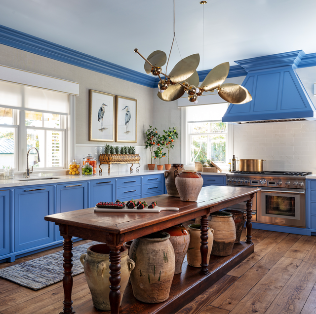 Room, Countertop, Furniture, Kitchen, Blue, Ceiling, Property, Cabinetry, Interior design, Building,