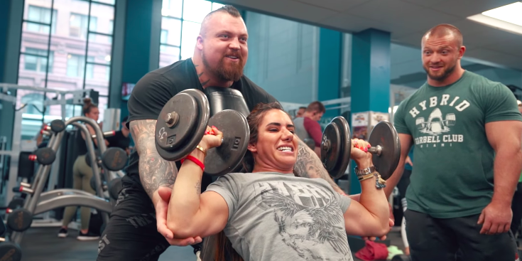 Watch Strongman Eddie Hall and Powerlifter Stefi Cohen Battle It Out at the Gym