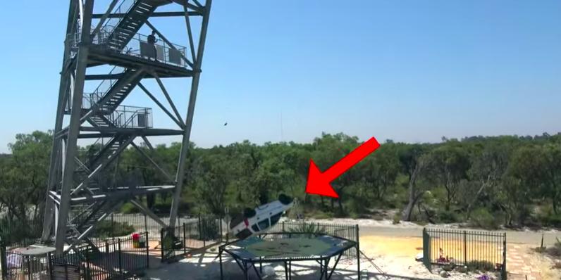 Why not drop a car 150 feet onto a trampoline?