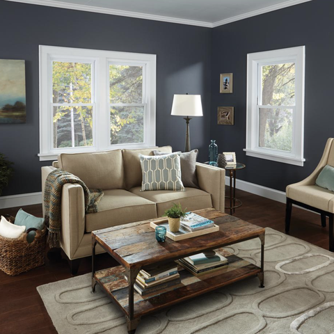 living room with couch, chair, and windows