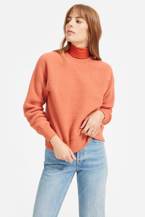 Clothing, Orange, Sleeve, Neck, Sweater, Shoulder, Outerwear, Top, Peach, T-shirt,