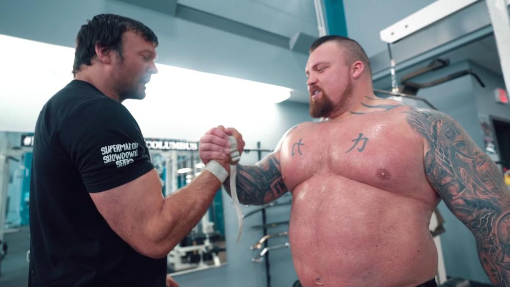 Watch Strongman Eddie Hall Train With Arm Wrestling World Champion Devon Larratt