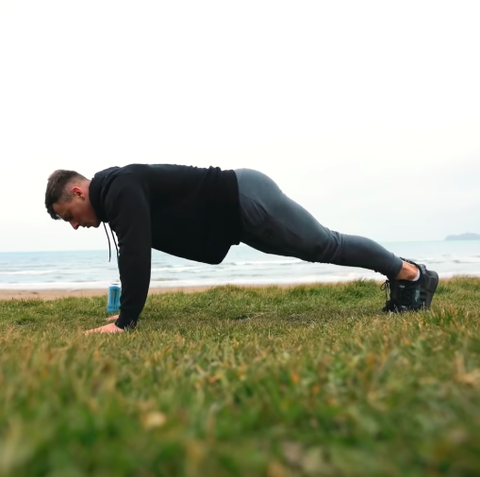 Physical fitness, Press up, Arm, Grass, Stretching, Joint, Exercise, Balance, Sports training, Plank,