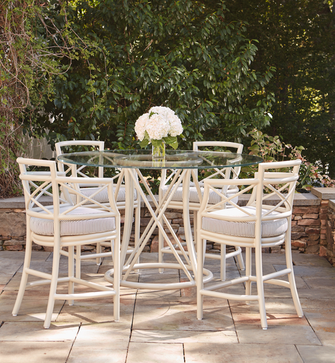 mcguire gondola dining table and chairs