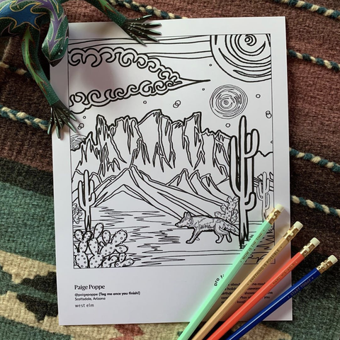 coloring book page with sun, mountains and cactus