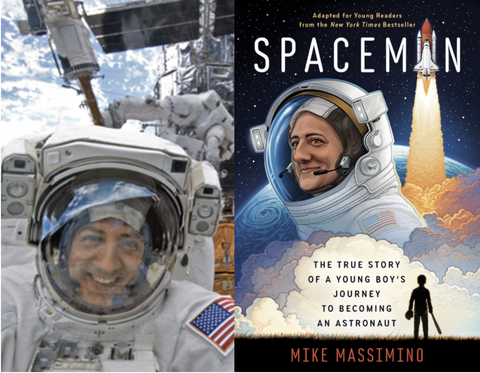 massimino in orbit and the cover of his book spaceman