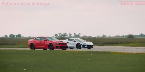 c8 vs hellcat widebody drag race