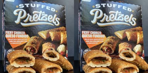 nestle stuffed pretzels fiery chorizo and queso fundido