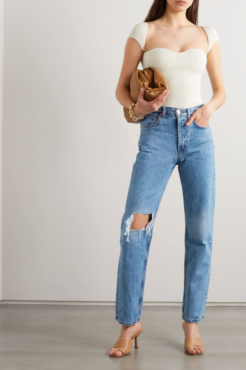 childhood distressed high rise straight leg jeans£300, still here