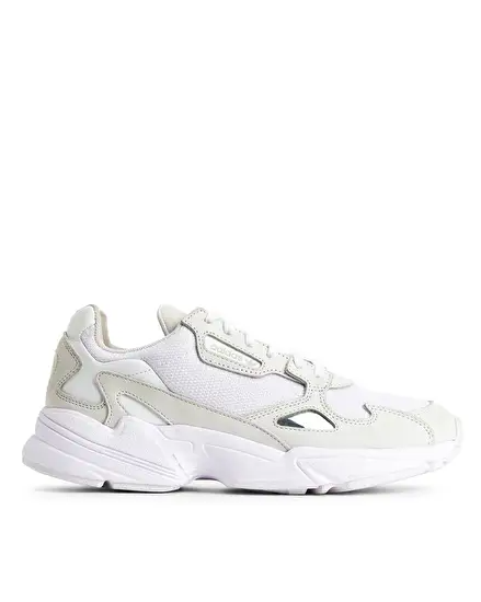 still life shot of white trainers adidas falcon trainers £90