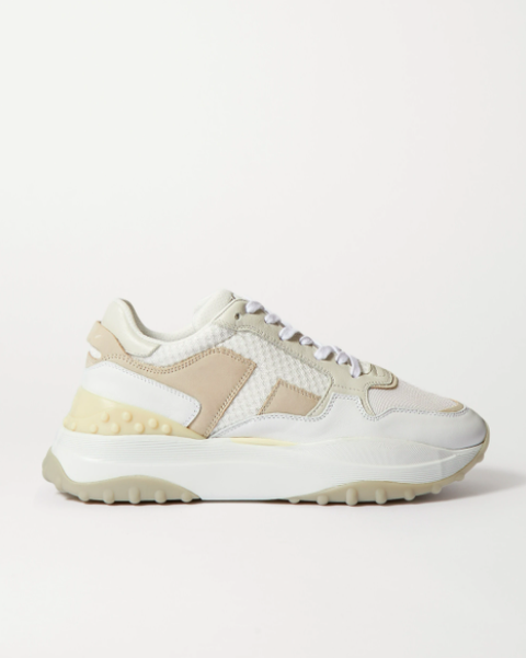 tod's leather, mesh and nubuck sneakers  £450