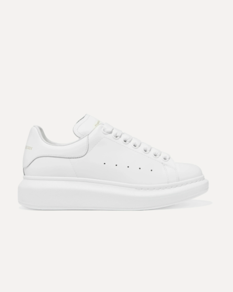 raised sole low top leather trainers