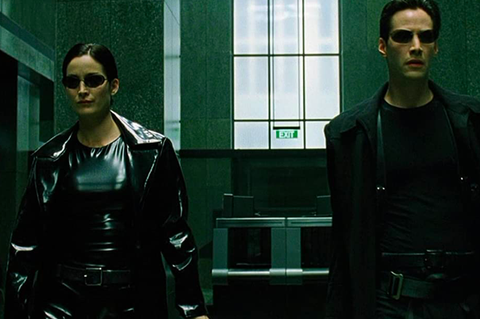 the matrix, keanu reeves, carrie anne moss, neo sunglasses