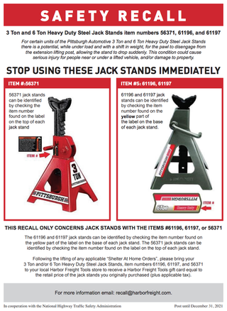 harbor freight jack stand recall poster