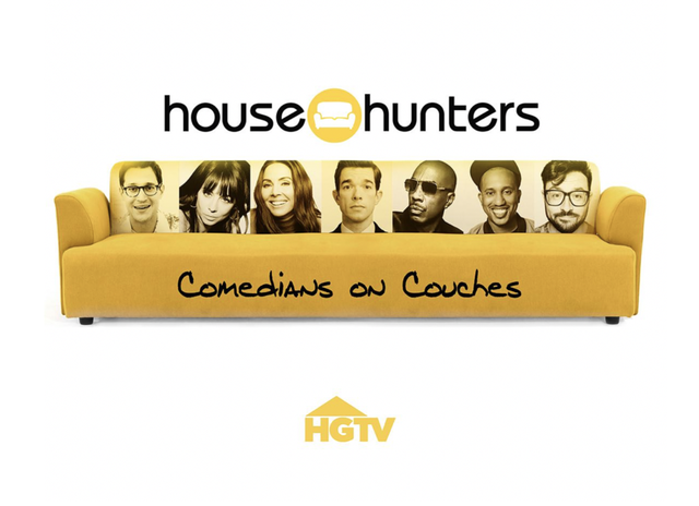 promo image of yellow couch with images of comedians participating in hgtv's new 'house hunters' spin off show