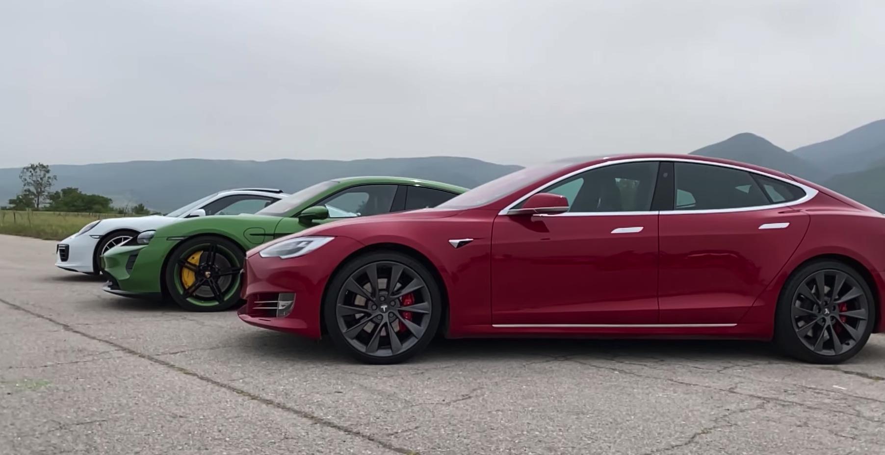 Watch a Tesla Model S P100D Performance Drag Race a Porsche Taycan Turbo S
