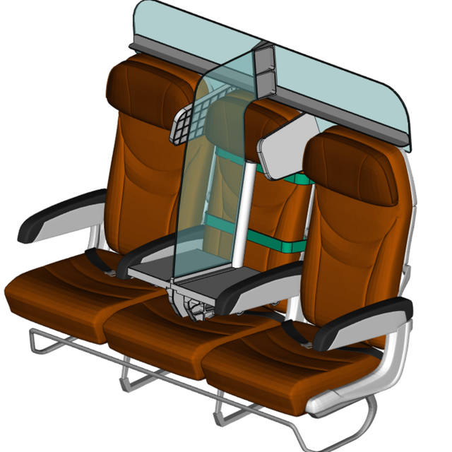a mockup of three airplane seats, where the middle seat is replaced with a plexiglas partition