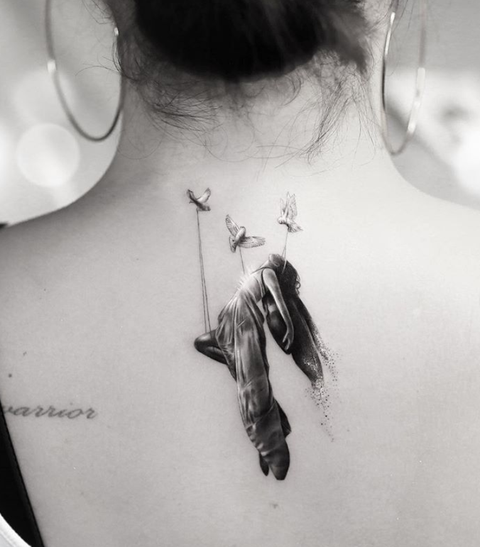White, Shoulder, Tattoo, Neck, Feather, Joint, Arm, Black-and-white, Back, Temporary tattoo,