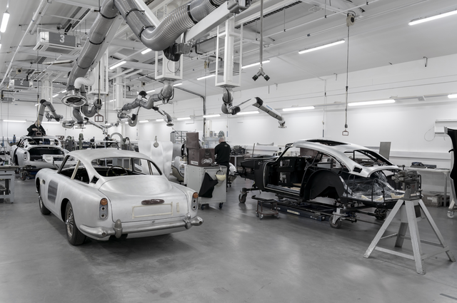 aston martin's new db5 continuation model at the company's manufacturing plant