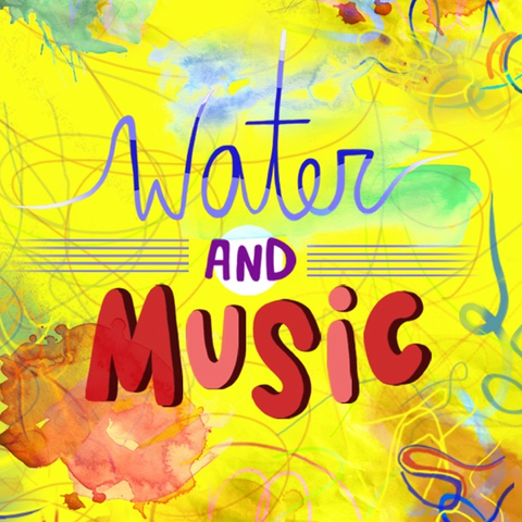 "a yellow background with abstract, colorful swirls in the foreground is the text ""water and music"""