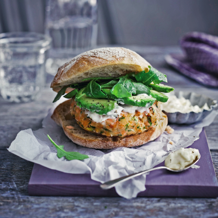 salmon and avocado burgers