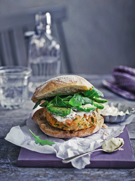 salmon and avocado burgers