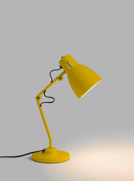 Lamp, Yellow, Light fixture, Lighting, Lighting accessory, Lampshade, Table,