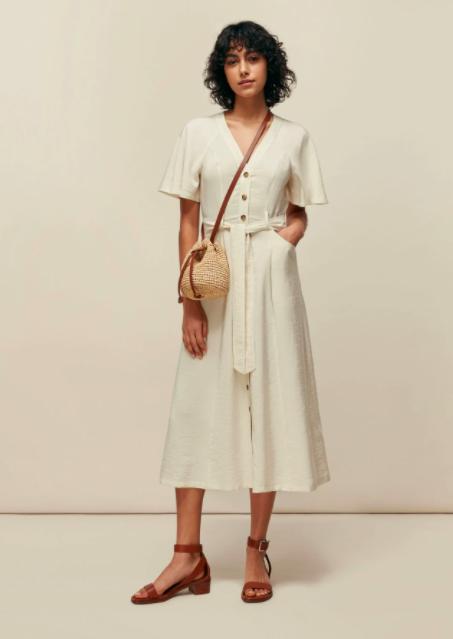 Clothing, White, Shoulder, Robe, Fashion, Dress, Joint, Outerwear, Fashion model, Beige,