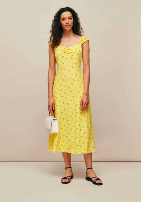 Clothing, Fashion model, Dress, Yellow, Day dress, Shoulder, Fashion, Neck, One-piece garment, Photo shoot,