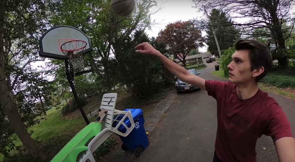 This Guy Spent 2 Months Setting Up the World's Longest Trick Shot in His Yard thumbnail