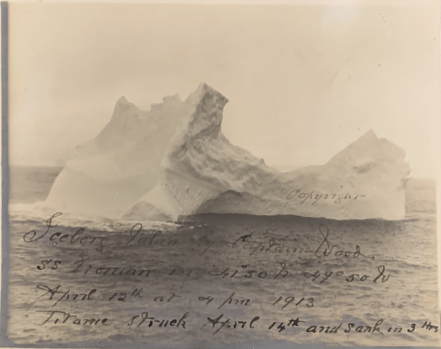 old photo allegedly depicting the iceberg that sank the rms titanic