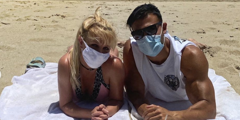 Britney Spears Donned a Tiny Bikini and Face Mask for a Social-Distanced Beach Date with Her Beau - HarpersBAZAAR.com
