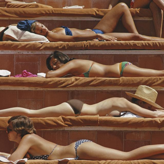 sunbathing women in capri