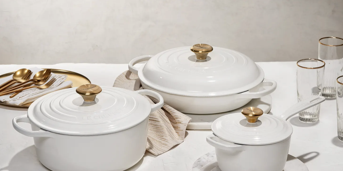 Le Creuset's New Collection Is White and Gold With Individual Pots and a 5-Piece Set