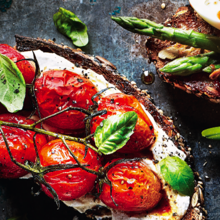 balsamic tomatoes and ricotta on toast