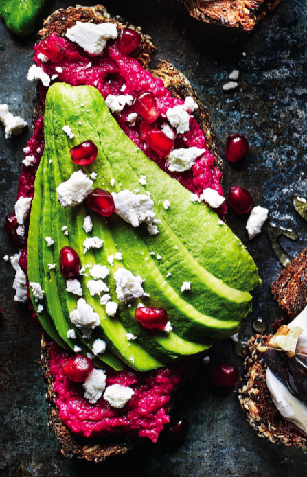 avocado on toast with feta and beetroot