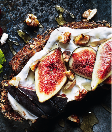 goats cheese and fig on toast
