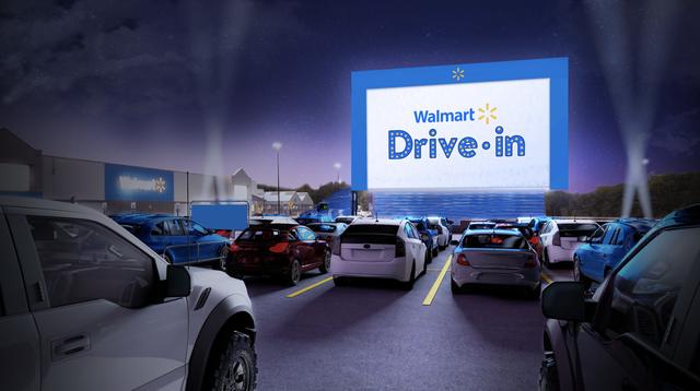 walmart drive in parking lot theaters