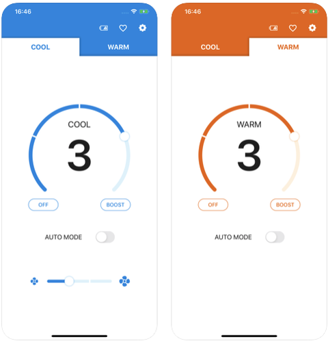 the reon pocket app lets you adjust the cooling device to the desired temperature