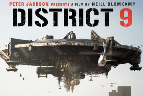 movie poster for the district 9 film showing a spacecraft hovering over a wasteland with a cityscape in the distance