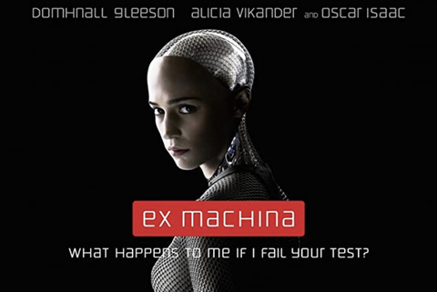 film poster for ex machina featuring alicia vikander as an ai humanoid robot