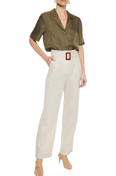 iris  ink amaranth belted pleated linen straight leg pants  exclusive to the outnet £110