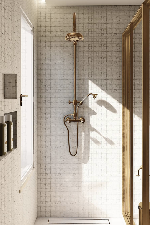 shower with brass